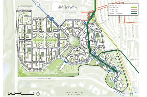 Parkmerced area with transit modifications