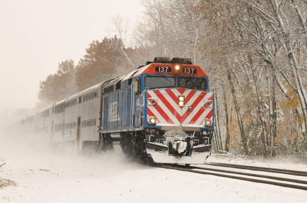 Metra rail engine in snow
