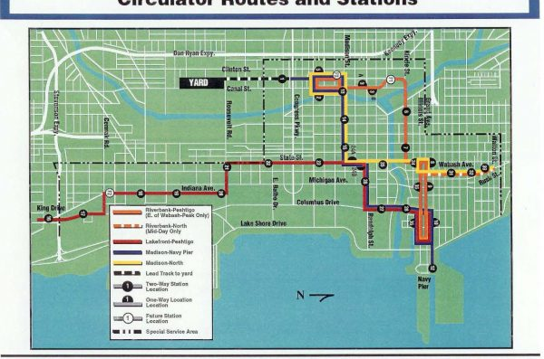 map of proposed circulator routes and station in downtown Chicago