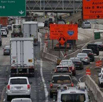 Traffic congestion brought on by road construction and reopening